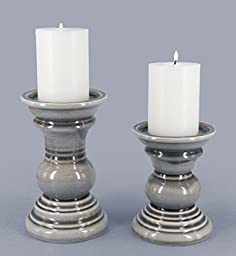 True Grit Fine Ceramic 2-Piece Set (One Tall One Short in Gray) Round Base Natural Wash Finish Pillar Decorative Candlestick Holder GRAY 5\