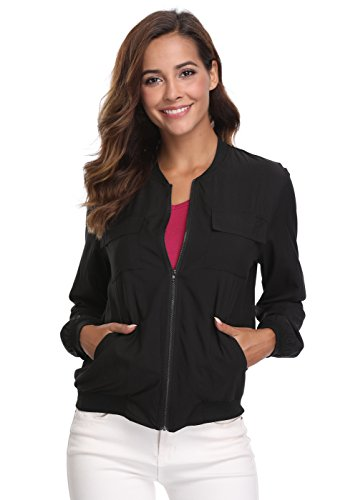 MISS MOLY Women's Multi-Pocket Zip Long Sleeves Unlined Solid Windbreaker Biker Summer Lightweight Thin Bomber Jacket