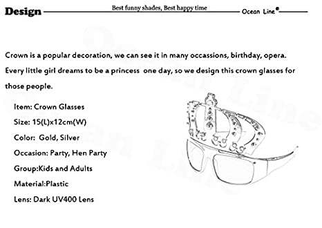 93fc233b05a Amazon.com  UltimaFio(TM) Beautiful Crown with Jewel Hen Party Costume  Glasses Electroplating Sunglasses for Birthday Gift Party Supplies  Decoration  Home   ...
