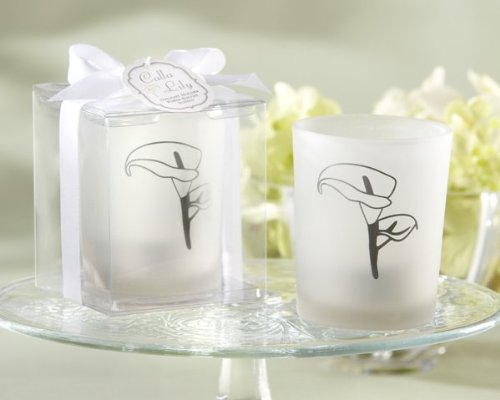 Calla Lily Frosted-Glass Tealight Holder (Set of 4)