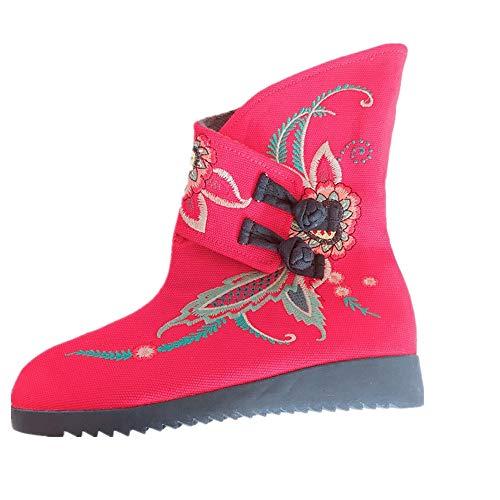 Caviglia Caviglia Caviglia Dimensione Ricamo Donna Fuxitoggo Fiore Rosso EU EU EU EU Stivaletti Vintage Nero 36 Colore qFAWaw