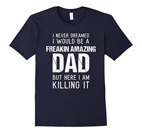 Mens Funny Amazing Dad Shirt Husband Son in law Fathers Day Gift Large Navy