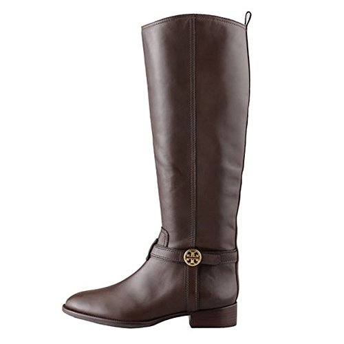 Tory Burch Bristol Leather Logo Riding Knee High Boots (7.5, Brown)
