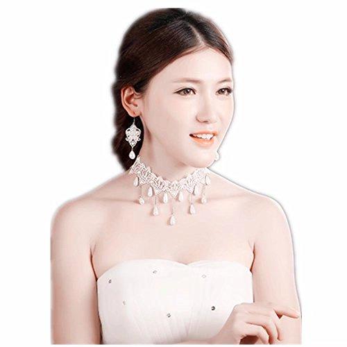 Lolita Jewelry (Lefinis Vintage Bridal Retro Girl Gothic Lolita Braided Flower White Lace Collar Choker Necklace Earrings Set)