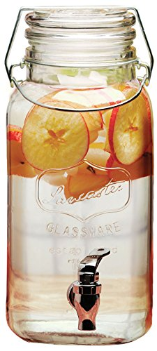 (Circleware 68116 Lancaster Yorkshire Mason Jar Glass Beverage Dispenser with Hermetic Locking Lid Glassware For Water, Juice, Beer, Wine, Liquor, Kombucha Iced Tea Punch & Cold Drinks, 1 Gallon,)