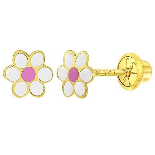 14k Yellow Gold Enamel Small Daisy Flower Screw Back Baby Girls Earrings