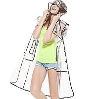 Impermeable transparente impermeable impermeable con capucha Zicac para mujeres (US: 4-8, debajo de la rodilla)