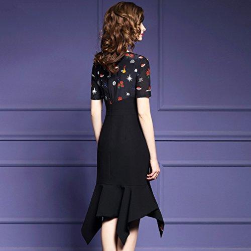 Robes Imprimées Femmes Cotylédons Soie Moulante Irrégularité Formelle Robe