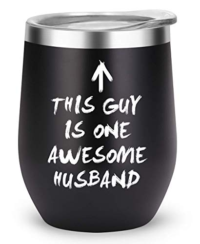 Husband Gifts Funny Mugs, Hubby Gift from Wife for Birthday Anniversary Fathers Day Christmas, Insulated Travel Tumbler for Men Him (AW-HUS)