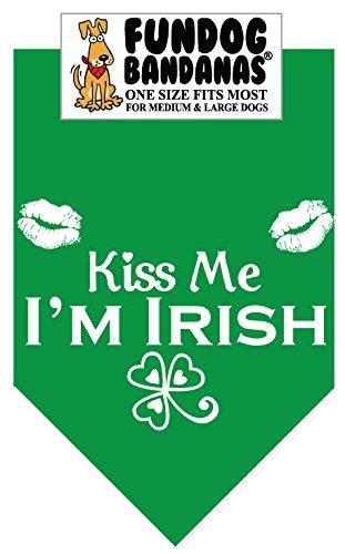 BANDANA - Kiss Me! I'm IRISH for Medium to Large Dogs - kelly green