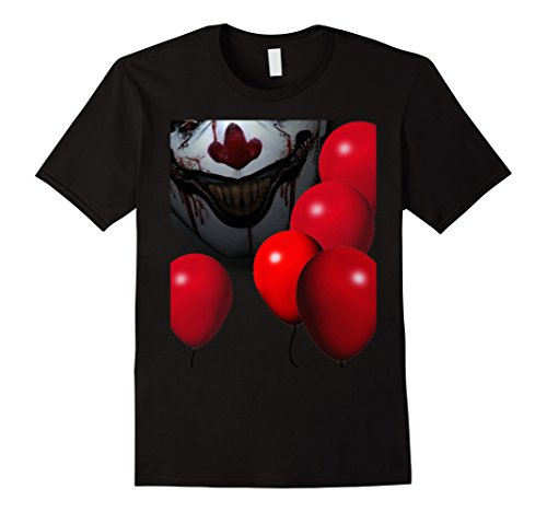 Stephen King It Costume (Mens Creepy Scary Clown Red Balloon Halloween Costume T Shirt 2XL Black)