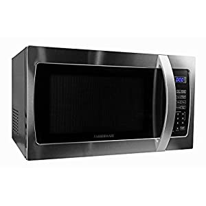Microwave Oven Compact Countertop Electric Stainless Steel 1000 Watt 1.3 Cu. Ft. Cookware With Free Pot Holders