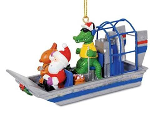 Alligator Guided Airboat with Santa and Reindeer Christmas Holiday Ornament by Cape (Alligator Decorations)