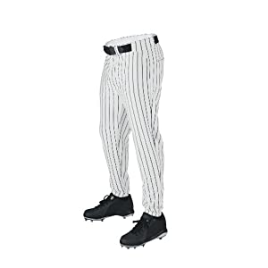 Wilson Sporting Goods Youth Deluxe Poly Warp Knit Pinstripe Baseball Pant, Medium, White with Black