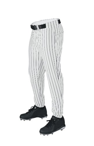 Wilson Sporting Goods Youth Deluxe Poly Warp Knit Pinstripe Baseball Pant, Large, White with Black