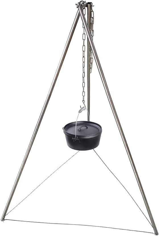 Dasiyoki Camping Tripod Portable Campfire Tripod Cooking Stand Durable Outdoor Dutch Oven Cooker Grill Stainless Steel Hanger Fire Pit Lantern Hanging Tri Pod and Chain