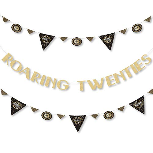 Roaring 20's - 1920s Art Deco Jazz Party Letter Banner Decoration - 36 Banner Cutouts and No-Mess Real Gold Glitter Roaring Twenties Banner Letters -