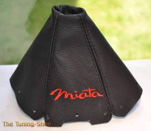 The Tuning-Shop Ltd For Mazda Mx-5 Mk1 NA 1989-1997 Shift Boot Black Leather Red Miata Embroidery