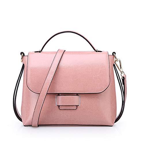 Pink Superior Bandolera Piel Cuero Con Bolso Asa Hungrybubble color Genuina De Genuino Pink wIZq7Owg