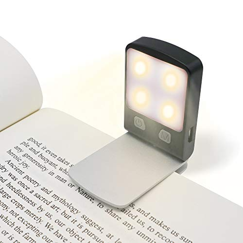 - Rechargeable Portable Book Light, 3000K 4 LED Easy Clip on Reading Light for Reading in Bed, 5 Modes Safty Light, 1.05oz Lightweight, Up to 14 Hrs, 360° Rotatable, Perfect for Bookworms Traveling.