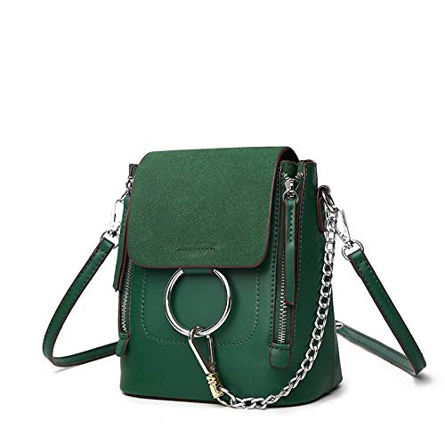 Frosted Woman handbag Mini Shoulder functional Multi Backpack Shoulder Bag Casual Chain Green d8BnO08x