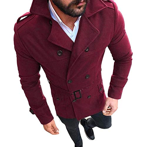 (SMALLE ◕‿◕ Outwear for Men, Autumn Winter Slim Fit Long Sleeve Suit Top Jacket Trench Coat Outwear Wine Red)