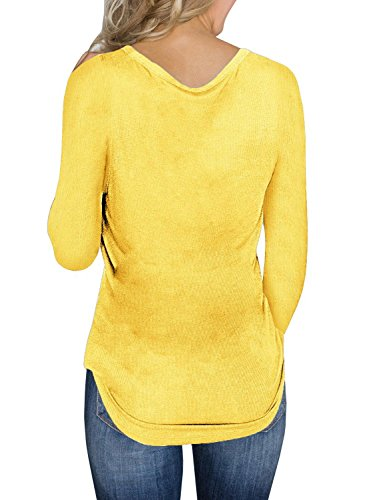 Dellytop Womens V Neck Henley Shirts Long Sleeve Button up Plain Tunic Tops Tees by Dellytop (Image #3)