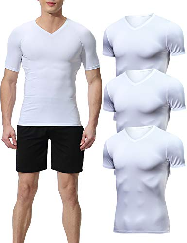 Lavento Men's Compression Shirts Cool Dry Short-Sleeve Workout Undershirts (3 Pack-V Neck White,Large)