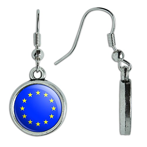 National Costume Of European Countries (Novelty Dangling Drop Charm Earrings Country National Flag C-I - EU European Union Europe National Country Flag)