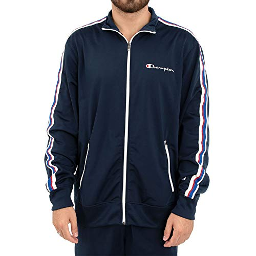 Champion Men's Track Jacket Embroidered Logo (XX-Large, Midnight Vista Blue)