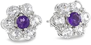 Sterling Silver Amethyst and Created White Sapphire Flower Stud Earrings