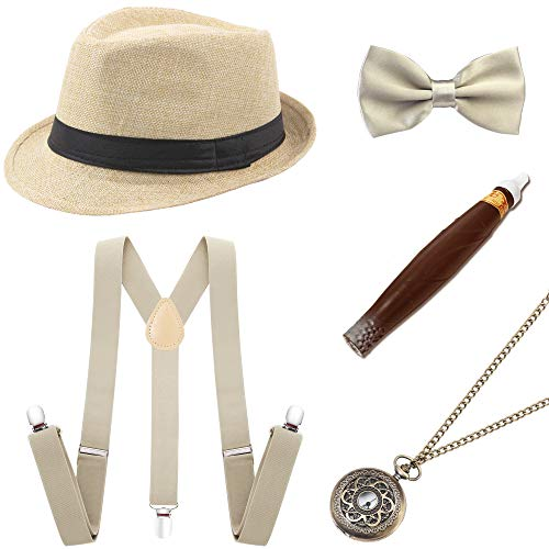 BABEYOND 1920s Mens Gatsby Costume Accessories Set 30s Panama Hat Elastic Y-Back Suspender Pre Tied Bow Tie Pocket Watch and Plastic Cigar (Beige Set) ()