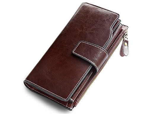Wallet Genuine Leather Ladies Clutch Card Organizer Travel Purse Large Capacity Wallets for Women Color Coffee ()