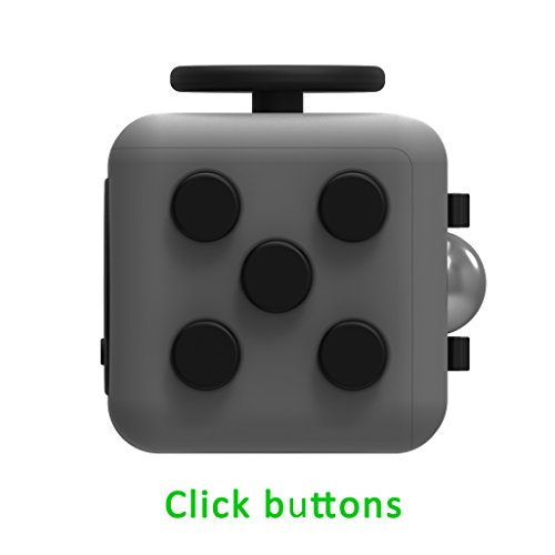 Juslink Fidget Cube Toys,Stress Cube, Anti-anxiety Cube for Kids and Adults Anxiety Attention Toy (Gray-2) - 2