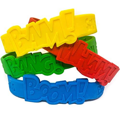 48 Piece Superhero Bracelet Party Supplies - Superhero Party Favors (Harley Quinn Party Favors)