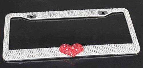 Bling Heart Bling (Bestbling Pure Handmade Heart Bling Luxury Czech crystal Rhinestones Waterproof Stainless Steel Metal License Plate Frame with 2 Holes Bonus Matching Screws &Caps (White))