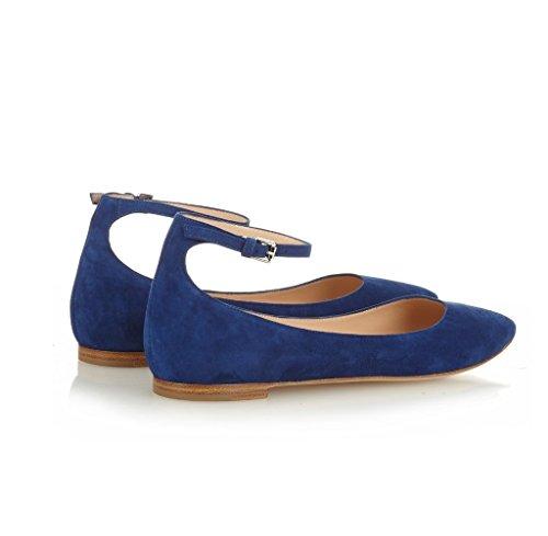 Ballerine Da Donna Edefs, Cinturini Alla Caviglia, Pantofole A Punta, Scarpe Piatte Da Party Blue