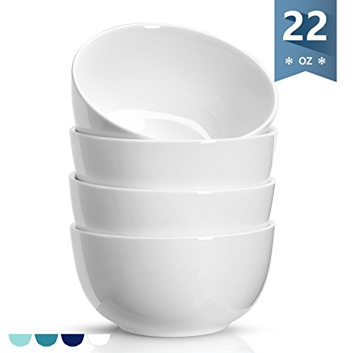 White Soup Cereal Bowl (Sweese 1132 Porcelain Bowls - 22 Ounce for Cereal, Soup, Rice, Salad - Set of 4, White)