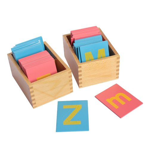 Montessori Lower and Capital Case Sandpaper Letters w/ Boxes (Capital Letter)