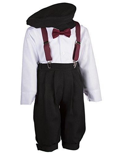 Boys Black Knickers Set Pageboy Cap Burgundy Suspenders & Bow Tie (6 ()