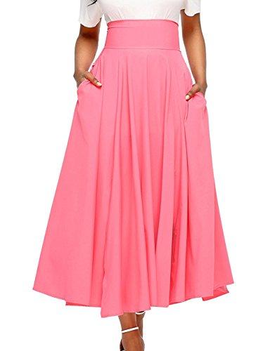 Onlyoustyle t Rtro Jupe avec Bandage Femme Casual Couleur Unie Maxi Jupe de Fte Soire Cocktail Fashion Plisse Haute Taille Jupes de Plage Rose