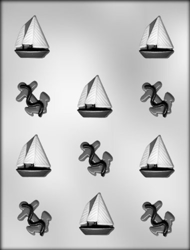 CK Products Anchor and Sail Boat Chocolate Mold (Nautical Chocolate Molds)