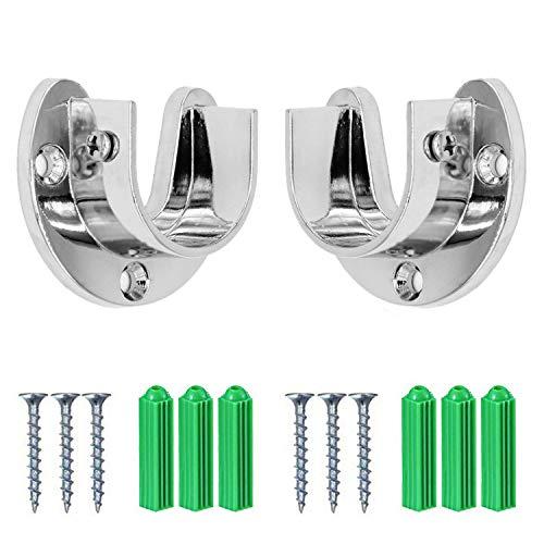 Gizhome Wardrobe Bracket Heavy Duty Stainless Steel Rod Socket Flange Rod Holder Closet Rod End Supports, 1-1/3