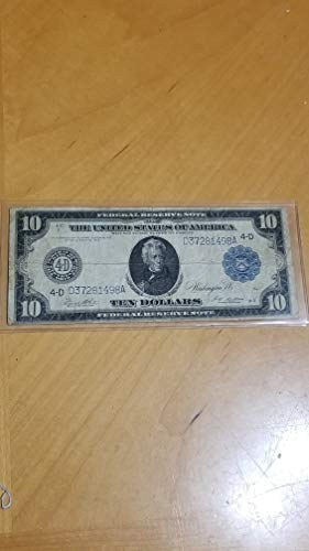 1914 $10 FEDERAL RESERVE NOTE-NICE LARGE WWI FRN CURRENCY-VERN'S CARD & COIN $10 F -