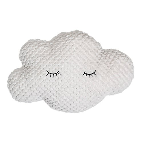 Bloomingville A75116280 Polyester White Cloud Pillow with Eyelashes (Shaped Cloud Rug)