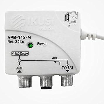 Fuente de alimentación conmutada para Amplificador de mástil con entradas terrestre y satélite, 12v / 100mA, 2 Salidas de RF.