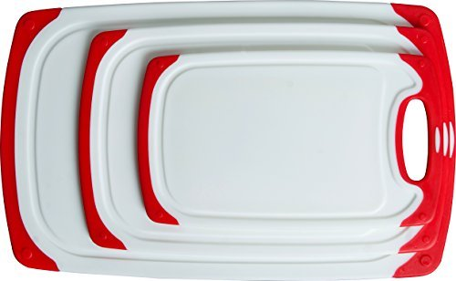 nslip Cutting Board Set: Red and white plastic kitchen carving boards, each with juice groove and nonskid handle; dishwasher safe ()