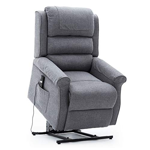 Irene House Modern Transitional Power Lift Recliner Chair with Soft Linen Fabric(Grey)