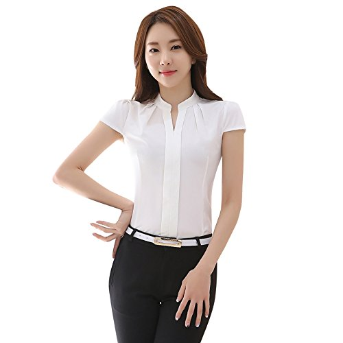 Soly Tech Women Short Sleeve Stand Collar Slim Fit Work Tops Blouse Shirts ()