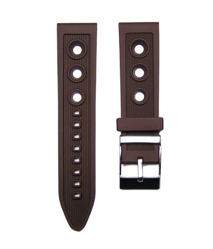 - 24mm TIMEWHEEL Brown Italian Rubber Ocean Racer Rally Watch Band Strap fits Breitling Bentley & More